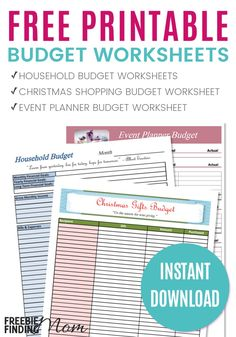 FREE Printable Budget Worksheets - Need help organizing your finances? Download these free printable budget worksheets for household expenses, holiday shopping and event planning.
