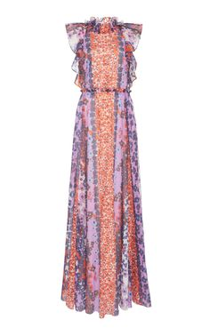 Ruffled Printed Cotton Maxi Dress by Lela Rose Elegant Outfit, Elegant Dresses, Beautiful Dresses, Vintage Dresses, Girl Fashion, Fashion Dresses, Fashion Design, Lela Rose, Modest Dresses