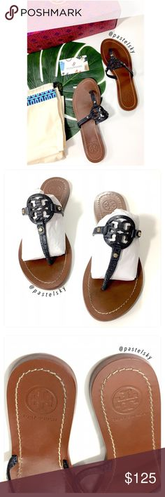 """authentic TORY BURCH mini miller sandals PRELOVED in good condition. normal wear (see photos) navy blue mini miller flat thongs/sandals in micro tegus print, original dust bag and box included.  details・size 5・9"""" heel to toe  due to lighting- color of actual item may vary slightly from photos. please don't hesitate to ask questions. happy POSHing 😊  💰 use offer feature to negotiate price on single item 🚫 i do not trade or take any transactions off poshmark Tory Burch Shoes Sandals"""