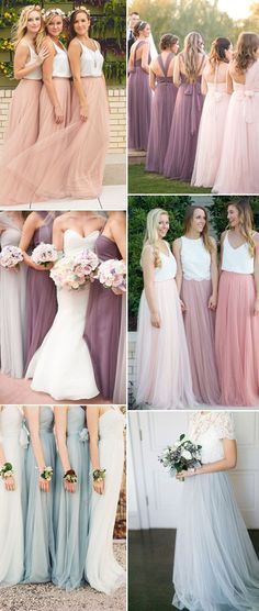 I'm loving the tulle bridesmaid skit and top look. The tops could all be different, 2 piece outfit