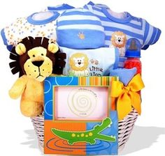 Puppy baby hamper for boys baby baskets and baby hampers baby lion heart personalized baby gift basket baby shower gift basket negle Images