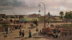 'Place Louis XVI' (formerly Place de la Revolution, and before that Place Louis XV, now officially called Place de la Concorde) by Giuseppe Canella 1829. Painted during the reign of Charles X (Louis XVI's youngest brother), this gives a remarkably good idea of how rural the square once looked. (AMP-Travel).