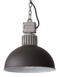 RAS Kleine Fabrik-Hängelampe mit Kette von Breda Leuchten: Der Halbkugelschirm der kleinen Fabrikhängelampe, hier in schwarz