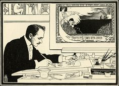 Ephraim Moses Lilien (1874-1925) is known as the father of Zionist iconography.   Self-portrait, 1901