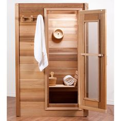 The Dundalk Western Red Cedar Indoor Steam Sauna seats 2 people comfortably (or 1 person lying down). This sauna features a kW Tylo heater, and inside sauna light and thermometer. Basement Sauna, Sauna Room, Basement Bathroom, Home Sauna Kit, Sauna Lights, Building A Sauna, Indoor Sauna, Portable Sauna, Traditional Saunas