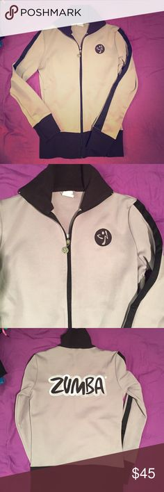 Zumba track jacket sz L grey/black embroidered Zumba track jacket sz L. Grey / Black. Back has embroidered Zumba logo. In excellent fluke new condition. Rare find. Zumba Tops Sweatshirts & Hoodies