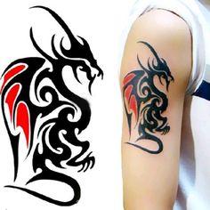 1 Sheet Large Temporary Tattoos Tribal Totem Body Dragon Tattoo New xk Dragon Tattoos For Men, Leg Tattoos Women, Dragon Tattoo Designs, Arm Tattoos For Guys, Tribal Dragon Tattoos, Large Temporary Tattoos, Fake Tattoos, Body Art Tattoos, Tattoo Ink