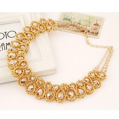 Fall Champagne Gold Double Layer Weave Design Alloy Fashion Necklaces