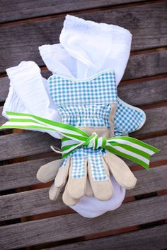 Diy cute little hostess gift diy stenciled towel cookbook spring hostess gift tulip bulbs gardening gloves negle Images