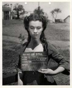 Make up still of actress Vivien Leigh, in the role of Scarlett O'Hara, on the set of <i>Gone With The Wind,</i> 1939.