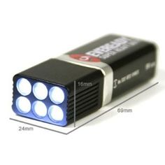 Mini Compact Size Ultra Bright 9V Eveready Battery LED Flashlight