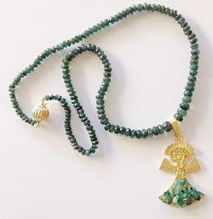 Collar de Esmeralda y colgante precolombino.   www.hiperstone.com