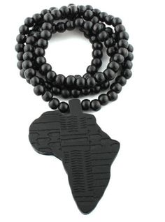 Black wooden africa pendant with multi colored 28 inch beaded 2 pieces of black wooden africa pendant with a 30 inch wood beaded necklace chain aloadofball Image collections