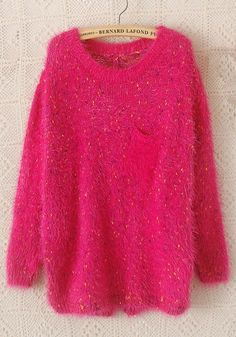 Hot Pink Sweater Fashion! Soft and Warm Fuschia Rose-Carmine Plain Pockets Long Sleeve Wool Blend Sweater #Hot_Pink #Sweater #Love