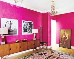 I Love The Idea Of A Hot Pink Wall With Honey Colored Furniture And B