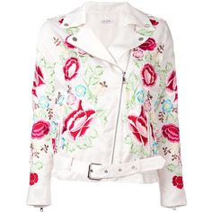 P.A.R.O.S.H. embroidered floral biker jacket (€455) ❤ liked on Polyvore featuring outerwear, jackets, red, floral moto jacket, red moto jacket, floral biker jacket, embroidered jacket and motorcycle jacket