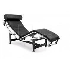 Chaise Lounge Chair Le Corbusier LC4 Replica Premium Black