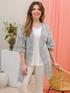 Diy Crochet Cardigan, Mercerized Cotton Yarn, Lacy Tops, Plymouth Yarn, Afghan Crochet Patterns, Spring Day, Summer Wear, Crochet Clothes, Kimono