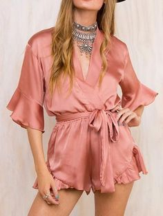 7c6edb63f19 Summer 2016 Satin Sleepwear Ruffles Elegant Women Jumpsuit Romper Deep V  Neck Long Sleeve Sexy Playsuit Pink Bow Beach Overalls