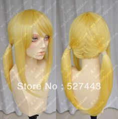 Wholesale free shipping FAIRY TAIL Lucy Yellow Universal Cosplay Wig Two Ponytails Cos Wig