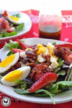 Spring Salad with Strawberries Bacon and Blue Cheese | farmgirlgourmet.com