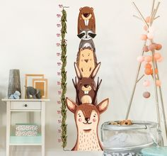 Simple Wandtattoo Messlatte Waldtiere Just for a baby Pinterest Height chart Woodland animals and Wall sticker
