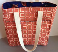 Deluxe Tote Geometric and Goldfish by allwithlove on Etsy, $45.00