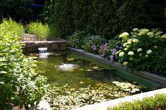 Piscina natural con hortensias y nenúfares