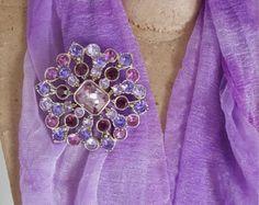 Signed Liz Claiborne Vintage Pink and Purple Rhinestone Flower Brooch - LC Vintage Pink and Purple Crystal Rhinestone Pin - Costume Jewelry - Edit Listing - Etsy