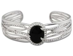Sterling Silver Black Agate and White Topaz Opening Night Cuff Bracelet; 7.25 inches Joolwe. $194.99