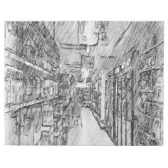 A photo with white and black drawing effect on it. A grocery store with many shelves different grocery and light in the ceiling. #white-black-drawing #drawing #grocery-store #grocery #food #food-store shop