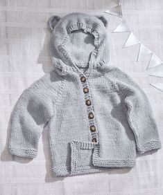 Baby Bear Knit Hoodie Free Knitting Pattern