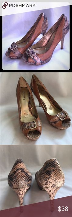"🌟🌟Guess distressed tan and snakeskin in amaiZng shape sz9 4"" heel Guess Shoes"