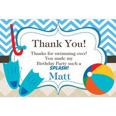 Pool Party Thank You Card  Blue Chevron and Tan by PurpleBerryInk