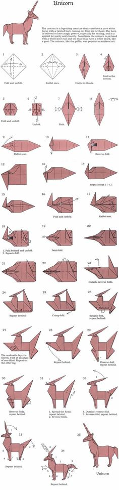 origami unicorn 1 - 35 complete diagram: