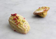 RASPBERRY PISTACHIO MADELEINES A recipe from Edmonton's Duchess Bake Shop.