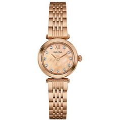 Ladies Bulova Rose Gold-Tone Bracelet Watch-97P116 , Rose Gold