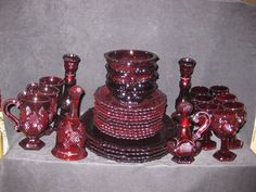 Vintage Avon 1876 Cape Cod Collection Ruby Red Glass Dish Set of 33 Pieces