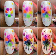 art acuarela rafikova_nailart with get_repost . Simple Nail Art Designs, Easy Nail Art, Acrylic Nail Designs, Flower Nail Designs, Diy Nails, Cute Nails, Manicure, Spring Nails, Summer Nails