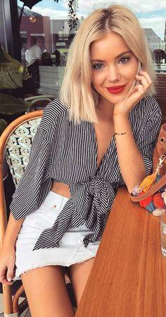 #spring #outfits Striped Blouse + White Denim Skirt