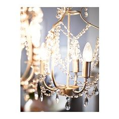 IKEA - KRISTALLER, Chandelier, silver color, glass, The height is easy to adjust by using the S-hook or cutting the chain. Lustre Ikea, Ikea Foto, Ikea Chandelier, Small Chandelier Bedroom, Bedroom Lighting, Chandeliers, Pendant Lamp, Pendant Lighting, Clear Light Bulbs