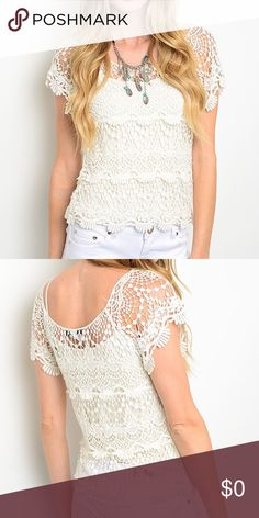 """🆕Off white crochet lace top (coming soon) Off white crochet lace top (doesn't include under tank top)  Fabric Content: 100% COTTON Size Scale: ONE SIZE Description: L: 22"""" B: 15"""" W: 15"""". 🔺Firm price🔺 Tops"""