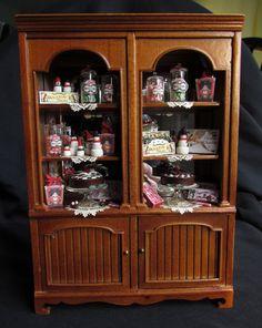 Christmas Miniature Dollhouse Cabinet - Bakery Sweet Shop Display IGMA Goddess of Chocolate.