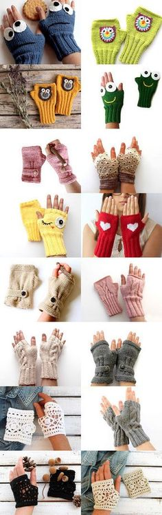 Crochet Patterns Gloves Beautiful 2 ::::::::::::::::::::::::::::::))))))))))))))) by Emel on Etsy--Pinne. Fingerless Gloves Crochet Pattern, Mittens Pattern, Fingerless Mittens, Knit Mittens, Knitted Gloves, Knitting Patterns, Crochet Patterns, Wrist Warmers, Crochet Yarn