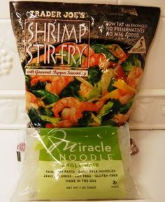 January 14, 2012 Shrimp Stir Fry with Miracle Noodles, 0 Carbs and 175 calories for the entire package! Serves 1. 1 package of Trader Joe's Shrimp Stir-Fry 1 package of Miracle Noodle Soy Free and ...