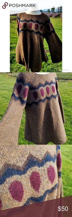 Anthro Sleeping On Snow Royanna Poncho Pullover Sweater with bell shaped sleeves and bottom, beautiful movement. Lovely mottled brown. Has metallic threads in zig zag along top and bottom of design. Made in Italy, 20g wool, 20% mohair, 22% polyamide, 23% acrylic. Apparently originally came w/ ribbon tie, you will need to add your own! Anthropologie Sweaters Shrugs & Ponchos