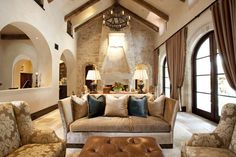 Tuscan Fireplace Design, Pictures, Remodel, Decor and Ideas - page 6 Stone Fireplace Wall, Living Room With Fireplace, Fireplace Design, Stone Walls, Brick Interior, Interior Design, Living Room Designs, Living Spaces, Tuscan Colors