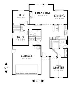 Open Floor Plan in Split Bedroom Design. Plan 1131 The Maddox is a 1463 SqFt Craftsman, Ranch style home plan featuring Skylights, and Split Bedrooms by Alan Mascord Design Associates. View our entire house plan collection on Houseplans.co.