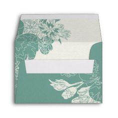 Sage & White, Sketched Floral Wedding Response Envelope