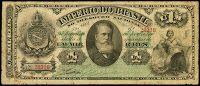 ANVERSO; Valor facial: 1000 réis; Ano de emissão: 1885; Órgão emissor: Tesouro Nacional; Empresa impressora: American Bank Note Company; 6ª Estampa